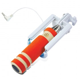 Selfie Wired Shutter Monopod For iOS & Android Orange Colour (Original)