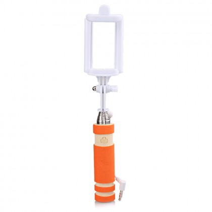 Selfie Wired Shutter Monopod For iOS & Android Orange Colour