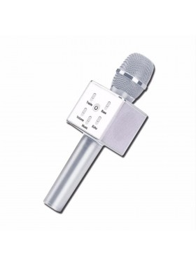 Q7 Portable Wireless Karaoke KTV Microphone Mic Handheld Condenser Microphone With Wireless Bluetooth Speaker Singing Stereo For Smartphones Silver Colour (Original)