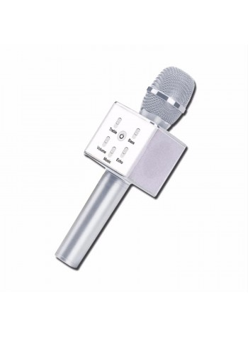 Q7 Silver Portable Wireless Karaoke KTV Microphone Mic Handheld Condenser Microphone With Wireless Bluetooth Speaker Singing Stereo For Smartphones (Original)