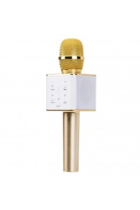 Q7 Gold Portable Wireless Karaoke KTV Microphone Mic Handheld Condenser Microphone With Wireless Bluetooth Speaker Singing Stereo For Smartphones (Original)
