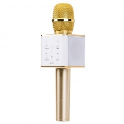 Q7 Portable Wireless Karaoke KTV Microphone Mic Handheld Condenser Microphone With Wireless Bluetooth Speaker Singing Stereo For Smartphones Gold Colour (Original)