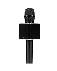 Q7 Portable Wireless Karaoke KTV Microphone Mic Handheld Condenser Microphone With Wireless Bluetooth Speaker Singing Stereo For Smartphones Black Colour (Original)