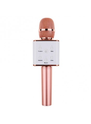 Q7 Portable Wireless Karaoke KTV Microphone Mic Handheld Condenser Microphone With Wireless Bluetooth Speaker Singing Stereo For Smartphones Rose Gold Colour (Original)