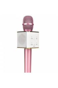Q7 Pink Portable Wireless Karaoke KTV Microphone Mic Handheld Condenser Microphone With Wireless Bluetooth Speaker Singing Stereo For Smartphones(Original)