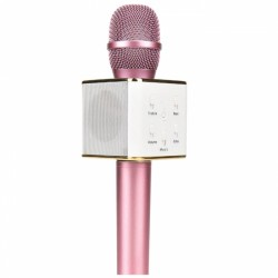 Q7 Portable Wireless Karaoke KTV Microphone Mic Handheld Condenser Microphone With Wireless Bluetooth Speaker Singing Stereo For Smartphones Pink Colour (Original)