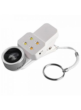 Universal Macro Camera Fish Eyes Lens for Smartphone & Flash 4 in 1 LED Flashlight Camera Lens Clip Silver Colour (Original)