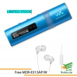 *Buy 1 Free 1!* Sony NWZ-B183F/L MP3 Player 4GB Walkman NWZ-B183F (Original) from Sony Malaysia - Blue Colour (FREE MDR-EX15AP/W)