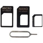 4 In 1 Nano Micro SIM & Nano SIM Card Adapter Black Colour (Original)