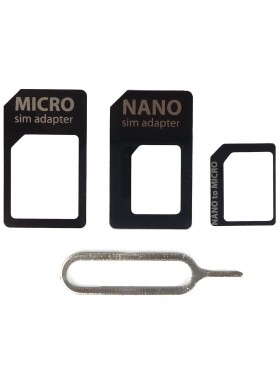4 In 1 Nano Micro SIM & Nano SIM Card Adapter Black Colour (Original)