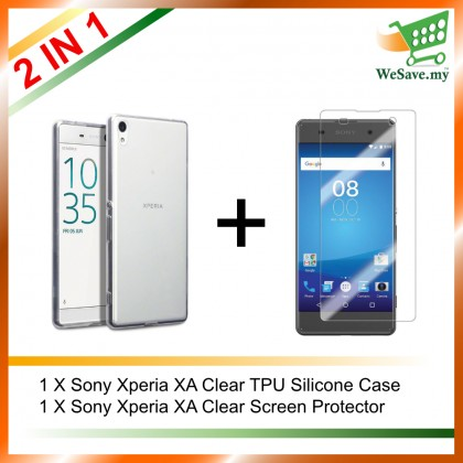 (2 in 1) Sony Xperia XA Clear Transparent Crystal TPU Silicone Case Cover + Clear Screen Protector
