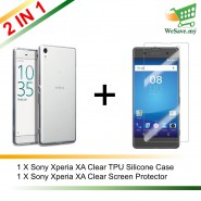 (2 in 1) Sony Xperia XA Clear Transparent Crystal TPU Silicone Case Cover + Clear Screen Protector (Original)