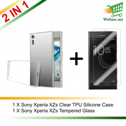 (2 in 1) Sony Xperia XZs Clear Transparent Crystal TPU Silicone Case Cover + Tempered Glass (Original)