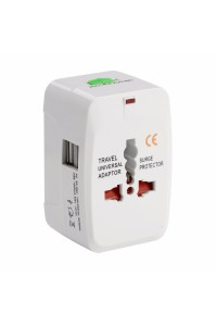 All-In-One Universal Travel Adapter With 2 USB / With 1000mA USB Charger Port White Colour (Original)