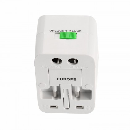 All-In-One Universal Travel Adapter With 2 USB / With 1000mA USB Charger Port White Colour