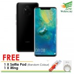 (FREE Selfie Pod + iRing) Huawei Mate 20 Pro Smartphone 6GB RAM 128GB Black Colour (Original) 1 Year Warranty By Huawei Malaysia