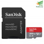 SanDisk Ultra 200GB 100MB/s AI-rated microSDXC UHS-I Card with Adapter Memory Card (Original)