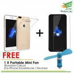 (FREE Mini Fan) Apple iPhone 7 Clear Transparent Crystal TPU Silicone Case Cover & Tempered Glass (Original)