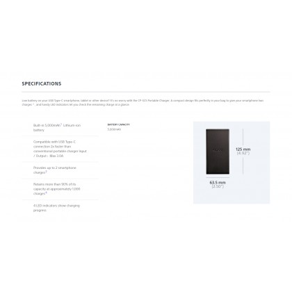 Sony CP-SC5 5000mAh Portable USB Charger / Power Bank Silver Colour (Original) From Sony Malaysia