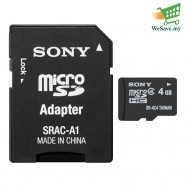 Sony SR-4A4 4GB MicroSDHC Memory Card With MircoSD Adapter (Original)