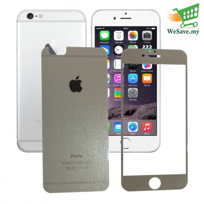 iPhone 6 Plus / 6+ Silver Diamond Tempered Front And Tempered Back (2 in 1) Half Cover Tempered Glass