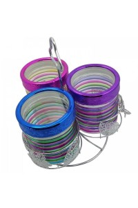 3 Piece Glass Canister Set With Rack (Original)