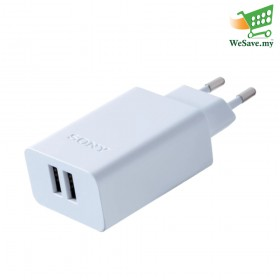 Sony CP-AD2M2 USB AC Adapter with Two Ports White Colour (Original) By Sony Malaysia