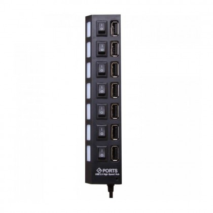 (DISPLAY) 7 Ports USB 2.0 High Speed Hub with LED Light