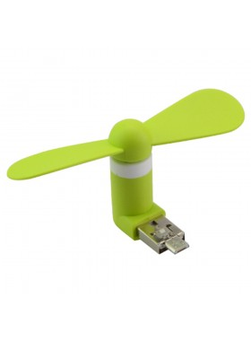 Portable Mini USB Fan For Android Smartphone / Device Green Colour (Original)
