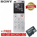 Sony ICD-UX560F Silver Digital IC Voice Recorder with Built-in USB ICD-UX560F/S (Original) from Sony Malaysia + 16GB MSD