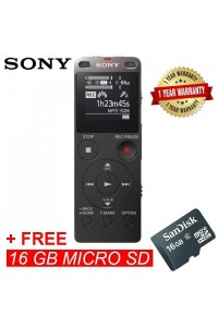Sony ICD-UX560F Black Digital IC Voice Recorder with Built-in USB ICD-UX560F/B (Original) from Sony Malaysia + 16GB MSD